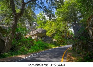 Shady one lane road through tall trees and granite boulders - El Portal Road (Highway 140) - Yosemite National Park