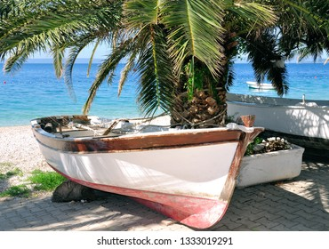 shady place at Beach of Makarska Riviera near Brela,adriatic Sea,Dalmatia region,Croatia