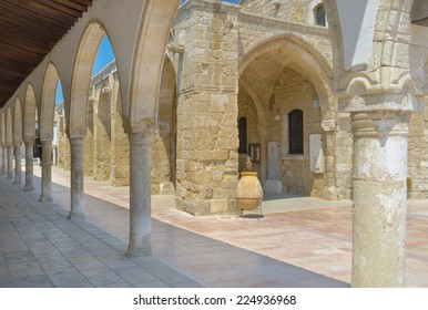 The shady terrace of the Ecclesiastical museum surrounds the St Lazarus church, Larnaca, Cyprus.