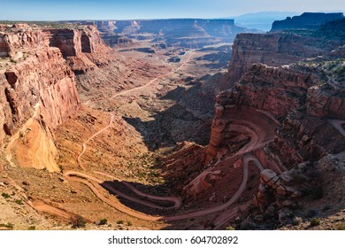 The Shafer Trail, near Moab, Utah. Dramatic landscapes are common in the red rocks surrounding Moab, Utah.