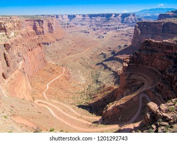 Shafer Trail Road switchbacks in Canyonlands National Park near Moab, Utah, USA