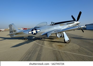 SHAFTER, CA - NOV 2: The most famous of American WW II fighter planes, this North American P-51 Mustang is a crowd favorite at the Minter Field Fly-In on Nov 2, 2013, at Shafter, California.