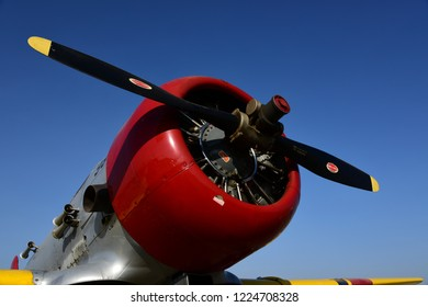 SHAFTER, CA - NOVEMBER 3, 2018: A North American military trainer is displayed in Navy markings as an SNJ, also known as the T-6 Texan in the air force, during the Wings N' Wheels exhibition at Minter