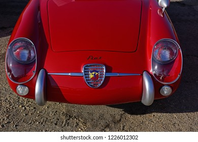 SHAFTER, CA - NOVEMBER 3, 2018: The Wings N' Wheels exhibition at Minter Field features the smooth lines and styling of the classic Fiat Abarth 750 GT today.