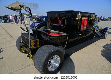 SHAFTER, CA - NOVEMBER 3, 2018: The Wings N' Wheels exhibition at Minter Field features this fanciful custom automobile based on a 1925 Ford Model T hearse.