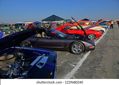 SHAFTER, CA - NOVEMBER 3, 2018 A large turnout of classic and special interest cars show up today for the Wings N' Wheels exhibition at Minter Field.