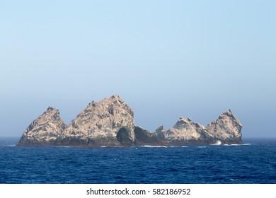 Shag Rocks, a remote rocky island group near South Georgia.