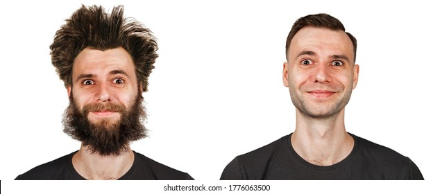 Shaggy bearded young guy with long hair before and after haircut in barbershop. on a white isolated background.
