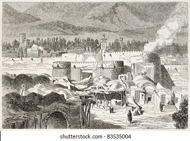 Shah Abdul Aziz gate old illustration, Persia. Created by Laurens, published on Le Tour du Monde, Paris, 1860
