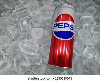 Shah Alam, Malaysia - 10 November 2018 : Can of Pepsi cola on ice crushed. Pepsi is a carbonated soft drink that is produced and manufactured by PepsiCo. Created and developed in 1893.