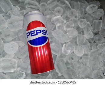 Shah Alam, Malaysia - 10 November 2018 : Can of Pepsi cola on ice. Pepsi is a carbonated soft drink that is produced and manufactured by PepsiCo. Created and developed in 1893.