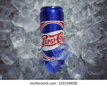 Shah Alam, Malaysia - 10 November 2018 : Can of PepsiCola special edition on ice crushed.Pepsi is a carbonated soft drink that is produced and manufactured by PepsiCo. Created and developed in 1893.