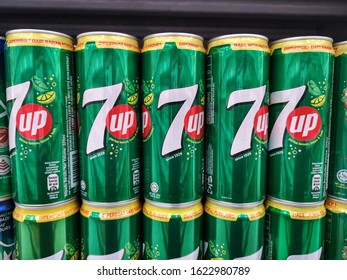 Shah Alam, Malaysia - 12 January 2020 : Upclose a 7 Up cans drink display in the supermarket. 7 Up is lemon-lime flavored soda drink and was created by Charles Leiper Grigg in 1929.