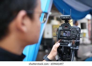 SHAH ALAM, Malaysia, 13 JUNE 2017: a man recording using Canon 5D Mark IV