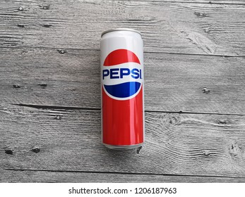 Shah Alam, Malaysia - 13 October 2018 : View a PEPSI Limited Edition Retro can year 1980s on the wooden background.Pepsi carbonated soft drink is produced and manufactured by PepsiCo.