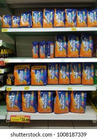 Shah Alam , Malaysia - 13th January 2018 : View of various packages of Horlicks on the shelves of local supermarket. Horlicks is a malted milk hot drink.Mobile photoghpy.