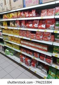 Shah Alam , Malaysia - 13th January 2018 : Grocery store shelf with various type brands packaging of assorted tea display in the supermarket.