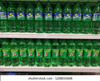 Shah Alam, Malaysia - 14 October 2018 : Assorted a flavour of SPRITE and 7UP carbonated soft drink bottle's display for sell in the supermarket shelves.