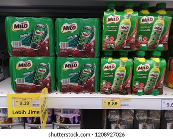 Shah Alam, Malaysia - 14 October 2018 :View a packed of NESTLE Milo can and bottle display for sell in the supermarket shelves. Milo is a malt chocolate drink produced by Nestle.