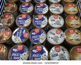 Shah Alam, Malaysia - 15 November 2018 : Assorted a container of WALL'S ice-cream display for sell in the supermarket.