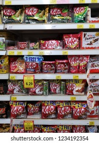 Shah Alam, Malaysia - 15 November 2018 : Assorted a packed of NESTLE Kit Kat chocolate display for sell in the supermarket shelf.