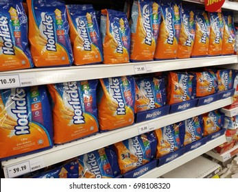 Shah Alam , Malaysia - 17th August 2017 : View of various packages of Horlicks on the shelves of local supermarket. Horlicks is a malted milk hot drink.
