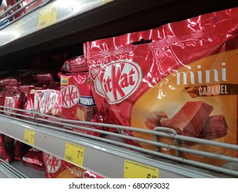 Shah Alam , Malaysia - 18th July 2017 : Kit Kat is a brand name of wafer chocolate bar display on the shelf in supermarket