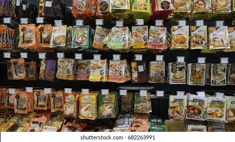 Shah Alam, Malaysia – 20 July 2017 :  Various types of Japanese Instant Foods on the shelf in the supermarket.