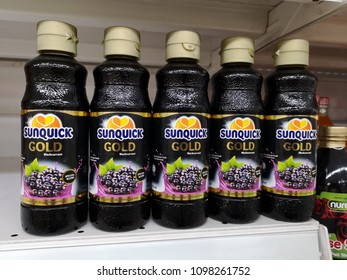 Shah Alam - Malaysia , 20 May 2018 :  SUNQUICK Gold Blackcurrant flavour bottle for sell in the supermarket shelf.Sunquick is a product of CO-RO A/S a Danish company.Mobile photoghpy
