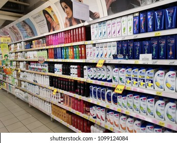 Shah Alam - Malaysia , 20 May 2018 : Assorted of brand hair conditioner shampoo display for sell in the supermarket shelves.