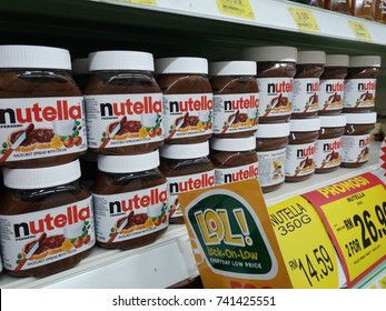 Shah Alam , Malaysia - 23th October 2017 : Jar of Nutella hazelnut on shelf in supermarket. Nutella is the brand name of a sweetened hazelnut cocoa spread. Mobile photography.