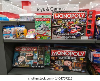 Shah Alam, Malaysia - 26 April 2019 : Various types of Toys and Games display for sale in book stores with selective focus.
