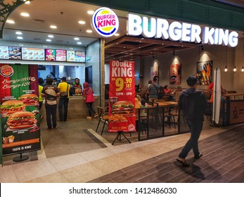 Shah Alam, Malaysia - 26 April 2019 : New restaurant BURGER KING at SOGO Shopping mall in Shah Alam, Malaysia with selective focus.