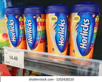 Shah Alam, Malaysia - 26 February 2019 : View a Horlicks Jar Cereal Drink for sell in the supermarket shelf. Horlicks is a malted milk hot drink developed by founders James & William Horlick.