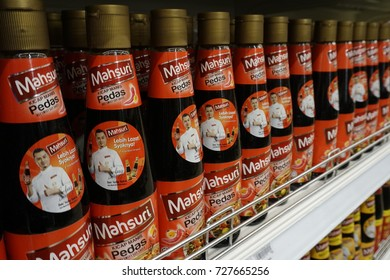 Shah Alam, Malaysia – 26 July 2017 :  Oyster Sauce on the bottle on the shelf in the supermarket.