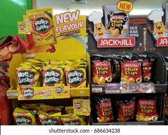 Shah Alam , Malaysia - 28th July 2017 : View of two brand name of Jack n Jill and Roller Coaster snacks on the shelf in supermarket.