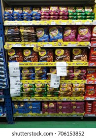 Shah Alam , Malaysia - 29 August 2017 : View of variety packed a cookies brand name ChipsMore in supermarket shelf.