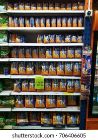 Shah Alam , Malaysia - 29 August 2017 : View of various packages of Horlicks on the shelves of local supermarket. Horlicks is a malted milk hot drink.