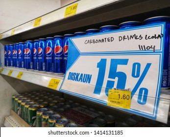Shah Alam, Malaysia - 30 May 2019 : Pepsi Carbonated Drinks with label on the supermarket shelf. Pepsi is a carbonated soft drink that is produced and manufactured by PepsiCo.