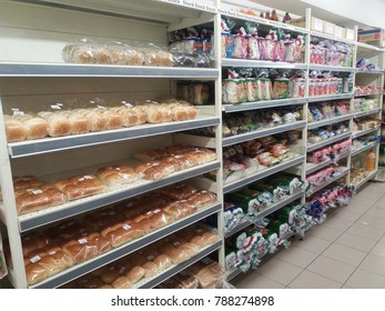 Shah Alam , Malaysia - 4 January 2018 : Line or row of various packaging breads display on the shelves in supermarket.Mobile photoghpy.