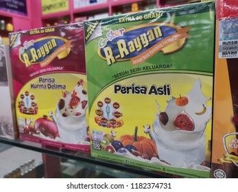 Shah Alam, Malaysia - 6 September 2018 : View a box of R-Rayyan goat milk powder flavor original and dates with pomegranate display for sell in the supermarket.