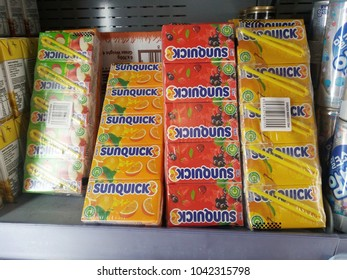 Shah Alam , Malaysia - 7 March 2018 : Display of Sunquick liquid boxes packaging on the supermarket shelves.Sunquick is a product of CO-RO A/S a Danish company.
