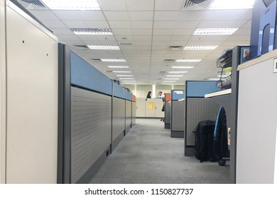 Shah Alam, Malaysia - 8 August 2018 : Workspace cubicles in an unidentified company in Shah Alam, Malaysia.