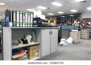 Shah Alam, Malaysia - 8 August 2018 : Office storage cabinet and files in unidentified company in Shah Alam, Malaysia.