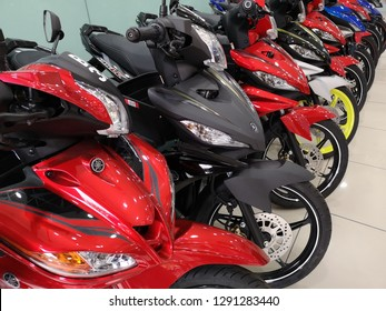 Shah Alam, Malaysia - 8 January 2018 : Brand new of YAMAHA motorcycle display for sell in showroom with selective focus.