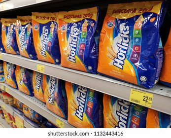 Shah Alam, Malaysia - 9 July 2018 :  Row a packets of HORLICKS Nutritious Malted Drink display for sell in the supermarket shelf.