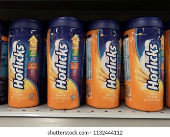 Shah Alam, Malaysia - 9 July 2018 : Display a container of HORLICKS Nutritious Malted Drink for sell in the supermarket shelf.