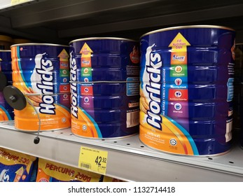 Shah Alam, Malaysia - 9 July 2018 : View of Horlicks Nutritious Malted Drink tin display for sell in the supermarket shelf.