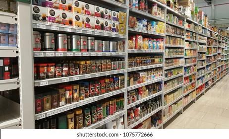 SHAH ALAM, MALAYSIA - APRIL 18, 2018: JAYA GROCER supermarket on April 18, 2018 in Shah Alam, Selangor, Malaysia. Jaya Grocer is a Malaysian premium discount supermarket chain.