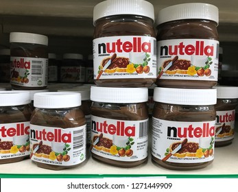 SHAH ALAM, MALAYSIA - Dec 31, 2018 : Nutella hazelnut spread jars on Supermarket shelves. Nutella is the brand name of a sweetened hazelnut cocoa spread. Manufactured by the Italian company Ferrero.